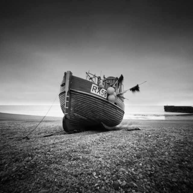 """RX58 Fishing boat - Pinhole photo"" stock image"