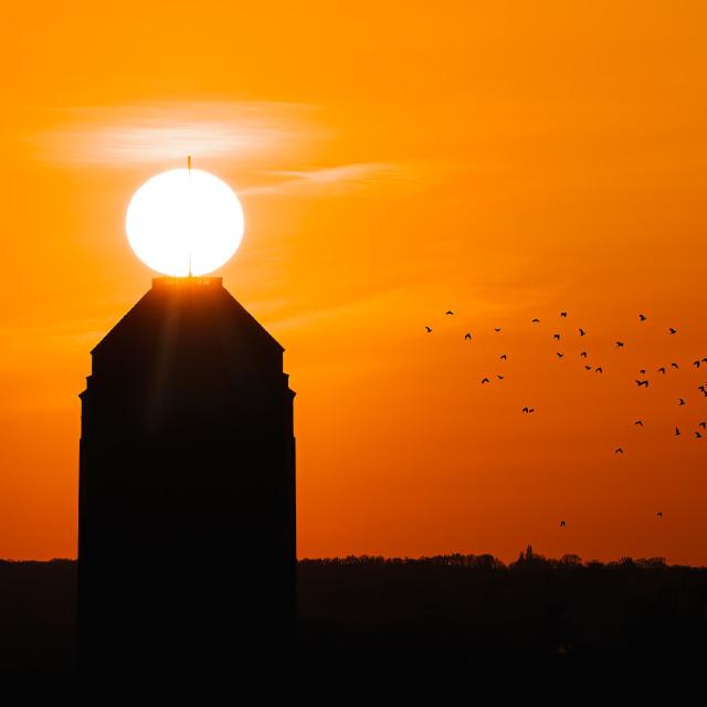 """Sunset on top of Cambridge University Library, Cambridge UK."" stock image"