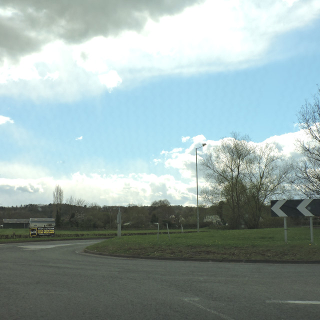"""""""Draycott in the Clay, Roundabout, Derbyshire, April 2021"""" stock image"""