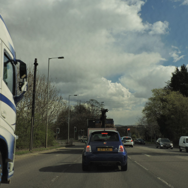 """HGV Truck, Lichfield, Street View, Staffordshire, April 2021"" stock image"