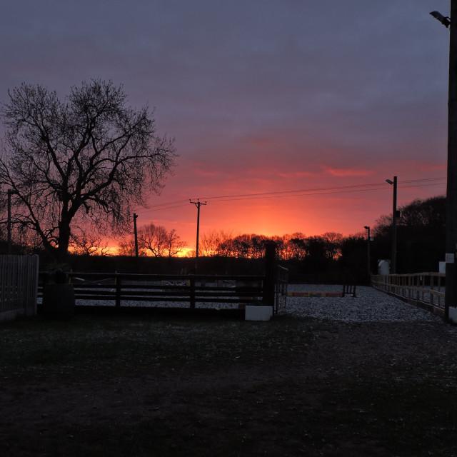 """Sunrise 2, Middleton Equestrian Centre, Staffordshire, April 2021"" stock image"