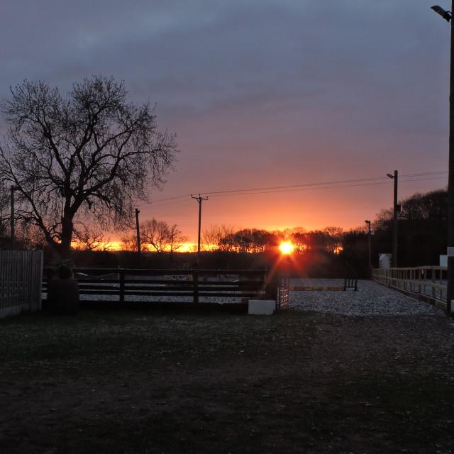 """Sunrise 3, Middleton Equestrian Centre, Staffordshire, April 2021."" stock image"