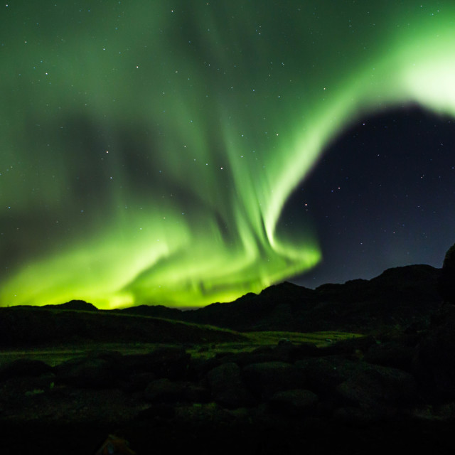 """""""Intensely Bright Aurora borealis over Iceland"""" stock image"""