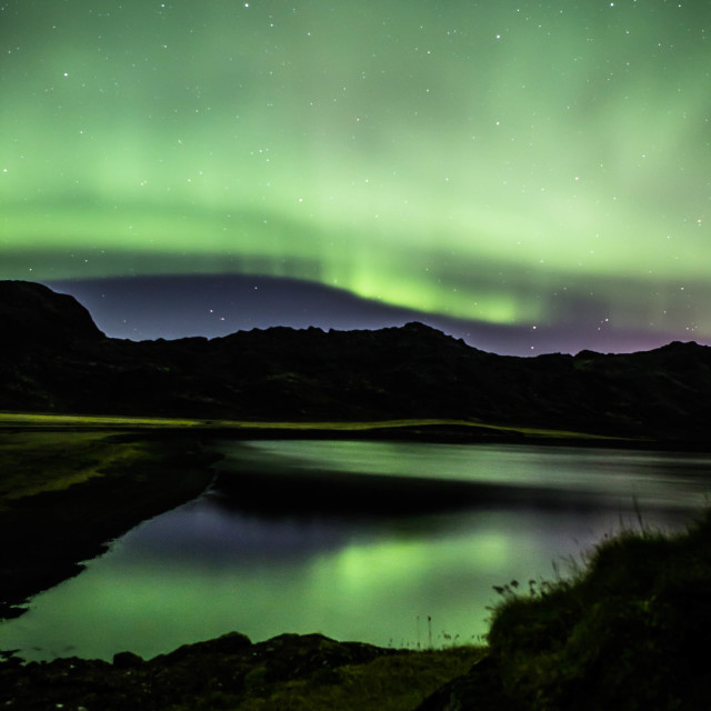 """""""Northern Lights over the shores of Kleifarvatn lake, Iceland"""" stock image"""