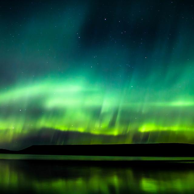 """Northern Lights over Lake Kleifarvatn Iceland"" stock image"