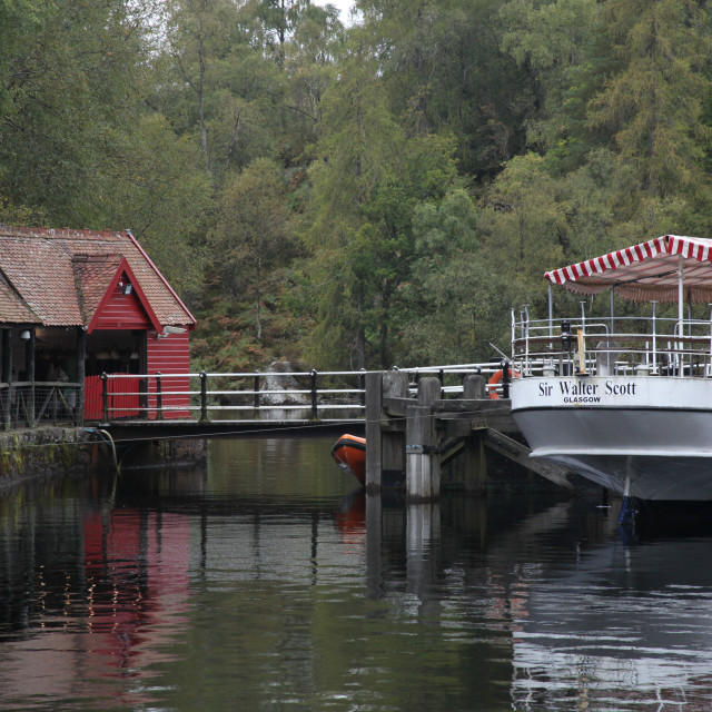 """Loch Katrine and the Sir Walter Scott Steamship,"" stock image"