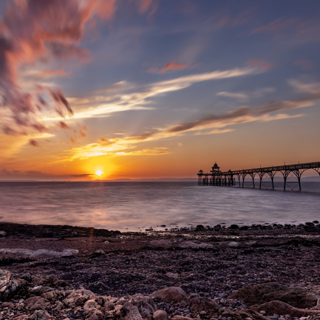 """Clevedon Sunset"" stock image"