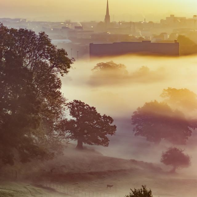 """Bristol Through the Mist"" stock image"