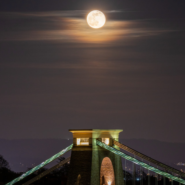 """Full Moon Above the Bridge Tower"" stock image"