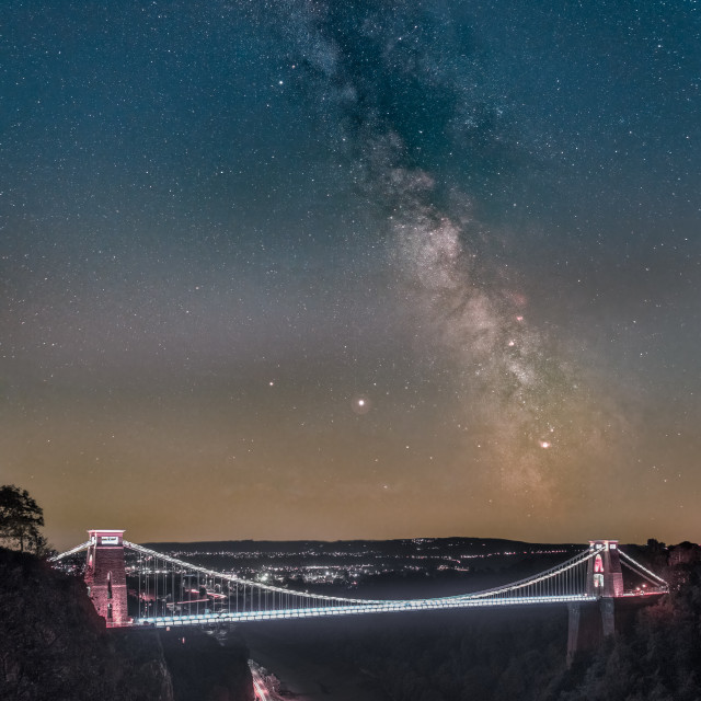 """Clifton Suspension Bridge Milky Way"" stock image"
