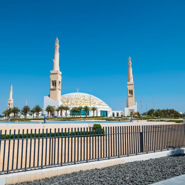 """Sheikh Khalifa Bin Zayed mosque in Al Ain city of the Abu Dhabi Emirate"" stock image"