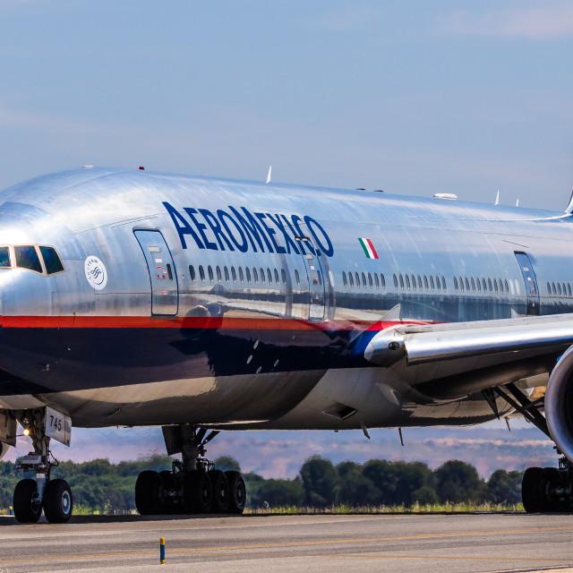 """Boeing B777 Aeroméxico N745AM"" stock image"