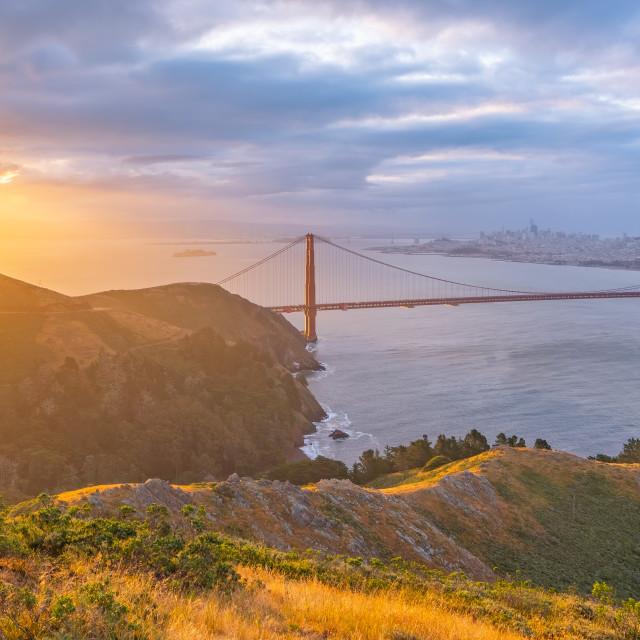 """San Francisco Sunrise (panorama)"" stock image"