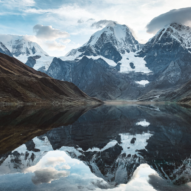 """Reflective Waters in the Peruvian Andes, Cordillera Huayhuash"" stock image"