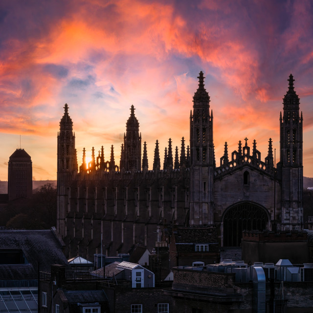 """""""Sunset on King's College Chapel and University Library, Cambridge UK."""" stock image"""