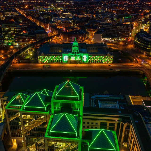 """Dublin on Patricks Day 2021"" stock image"
