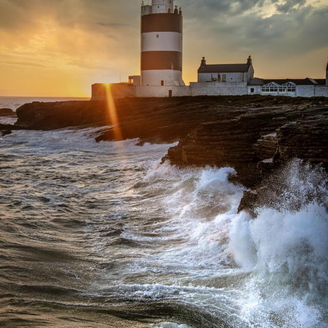 """Hook Lighthouse Sunset"" stock image"