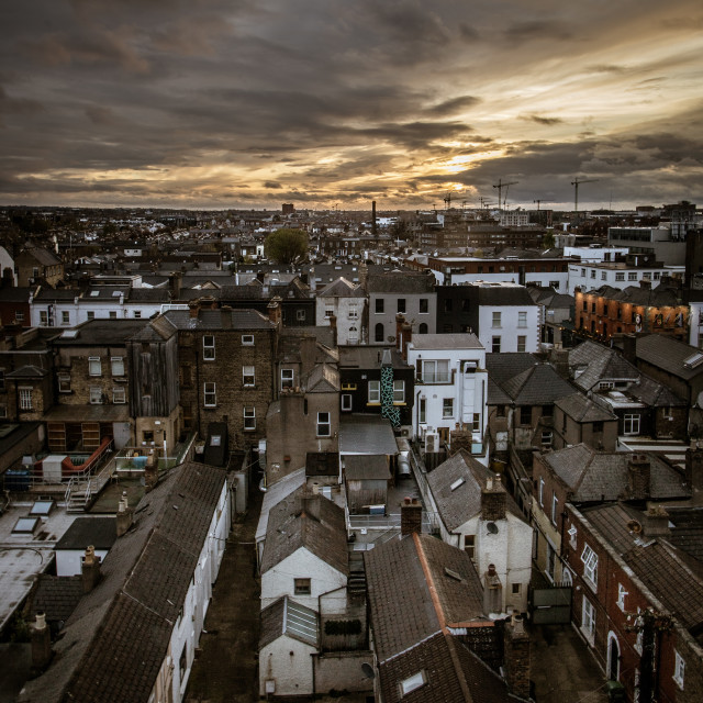 """Moody Dublin Sunset"" stock image"