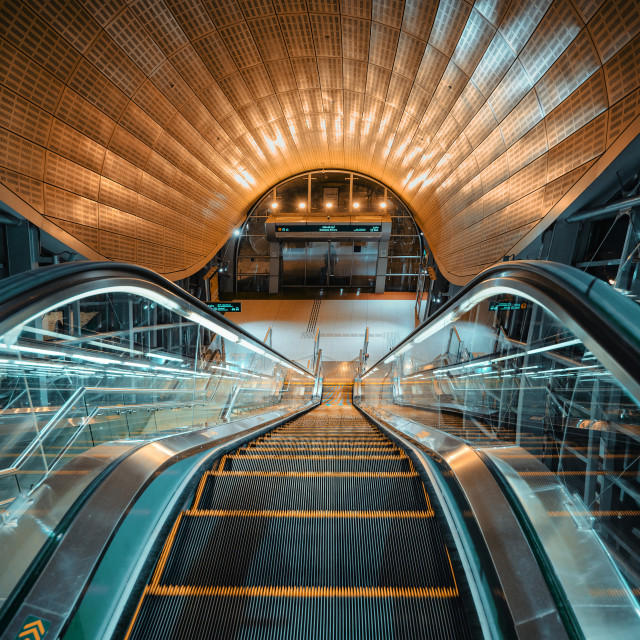 """Dubai metro station interior at Downtown Dubai exiting at Sheikh Zayed road south in the UAE at night"" stock image"