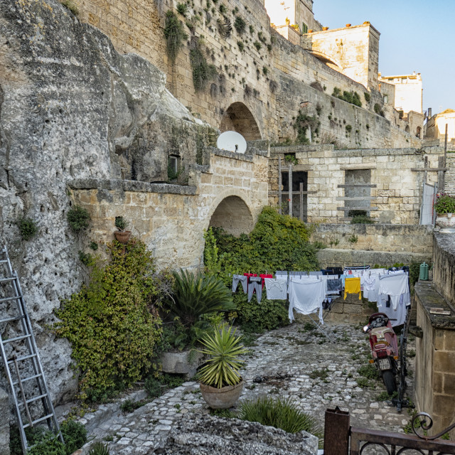 """""""House with patio in ancient cave city Matera"""" stock image"""