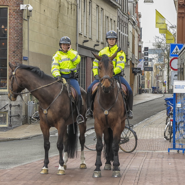 """""""Mounted police in Groningen"""" stock image"""