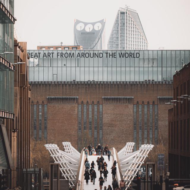 """Millennium Bridge and Tate Modern Museum, London, UK"" stock image"