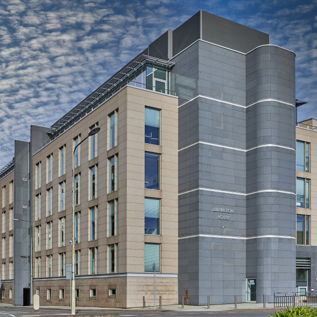 """""""Image of office block, St Helier, Jersey CI - Editorial Use Only"""" stock image"""