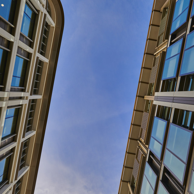 """""""Abstract image of IFC1 & IFC5, (International Finance Centre), St Helier, Jersey CI - Editorial Usage Only"""" stock image"""
