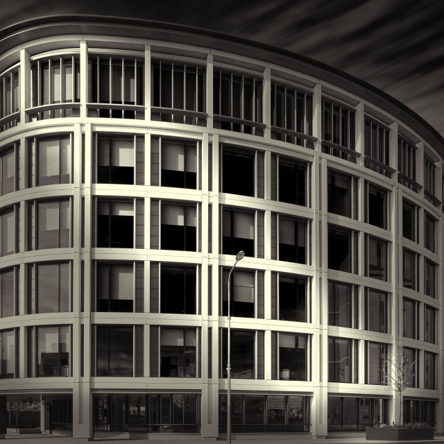 """""""Black and white image of IFC5, (International Finance Centre), St Helier, Jersey CI - Editorial Usage Only"""" stock image"""
