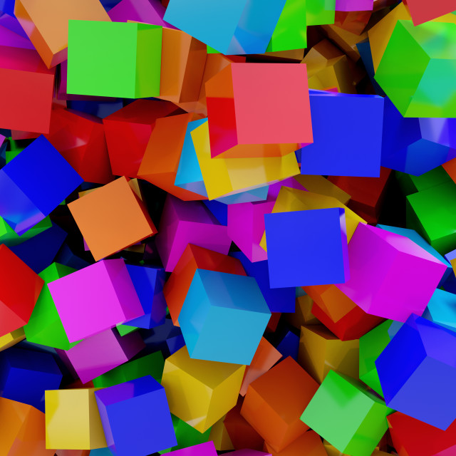 """""""Three-dimensional colorful cubes"""" stock image"""
