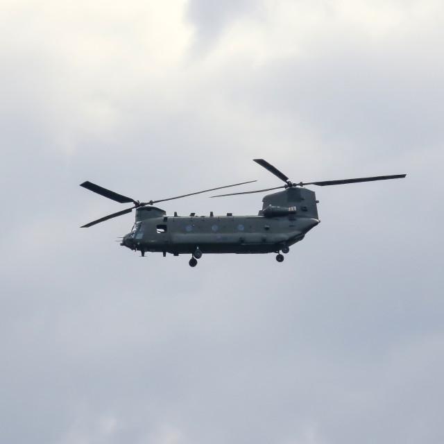 """""""Chinook over Hamsterley"""" stock image"""