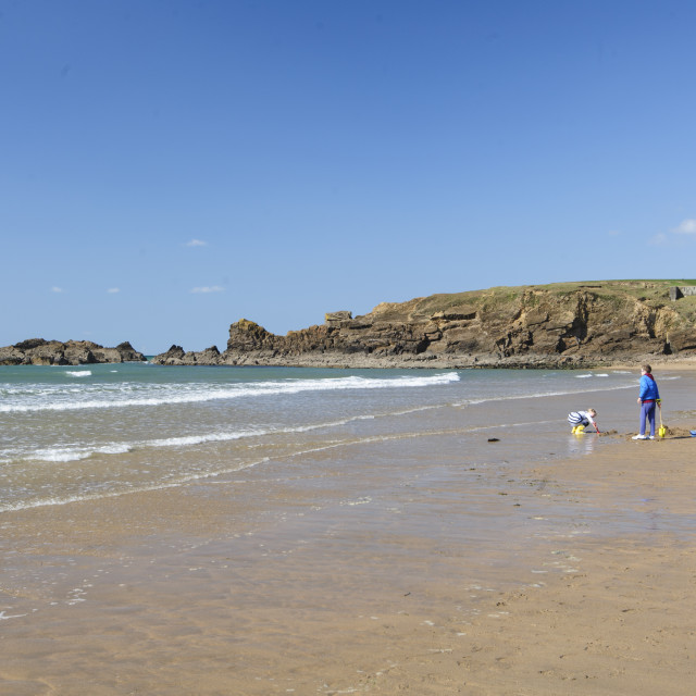 """""""Crooklets Beach, Bude, Cornwall"""" stock image"""