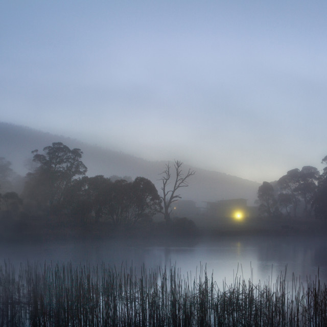 """Dawn on Lake Crackenback"" stock image"