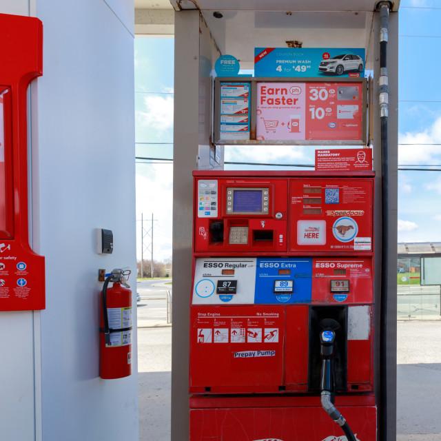 """Esso gas station pump in Ottawa"" stock image"