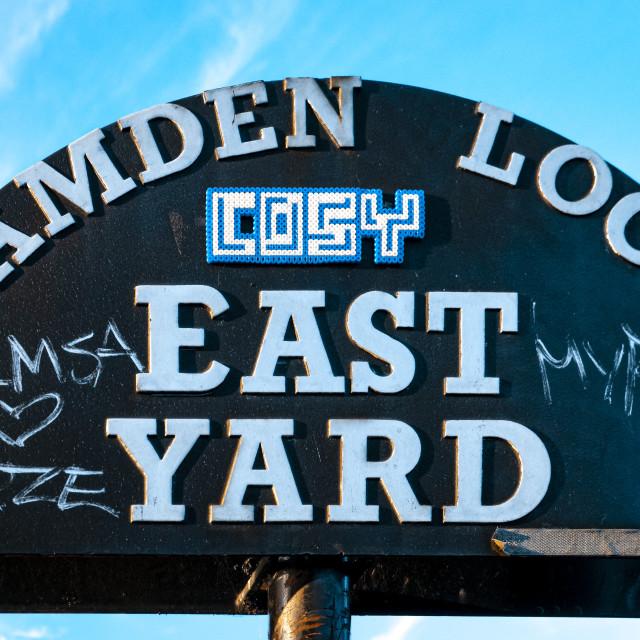 """East Yard Street Sign, Camden Lock"" stock image"