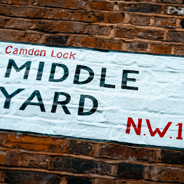 """Middle Yard Street Sign, Camden Lock"" stock image"