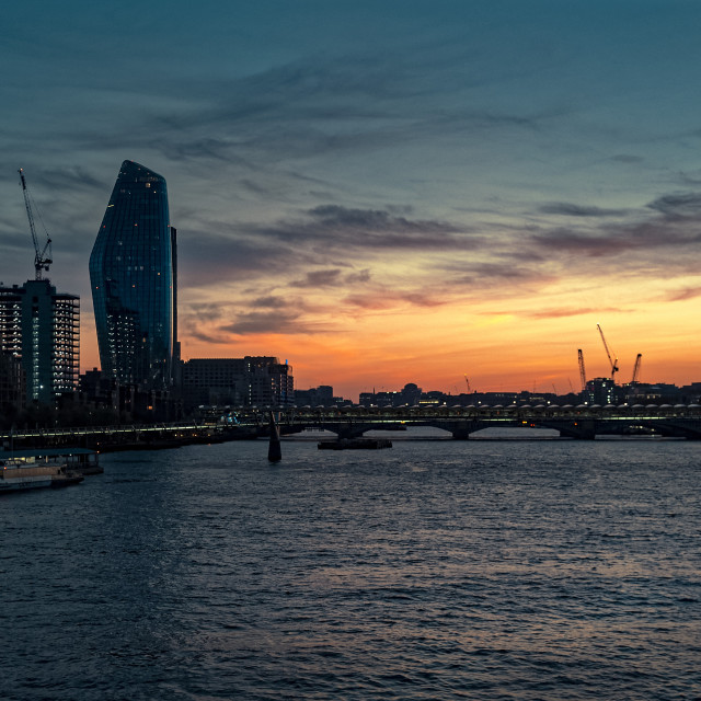 """""""Sunset over The River Thames and The Millennium Bridge"""" stock image"""