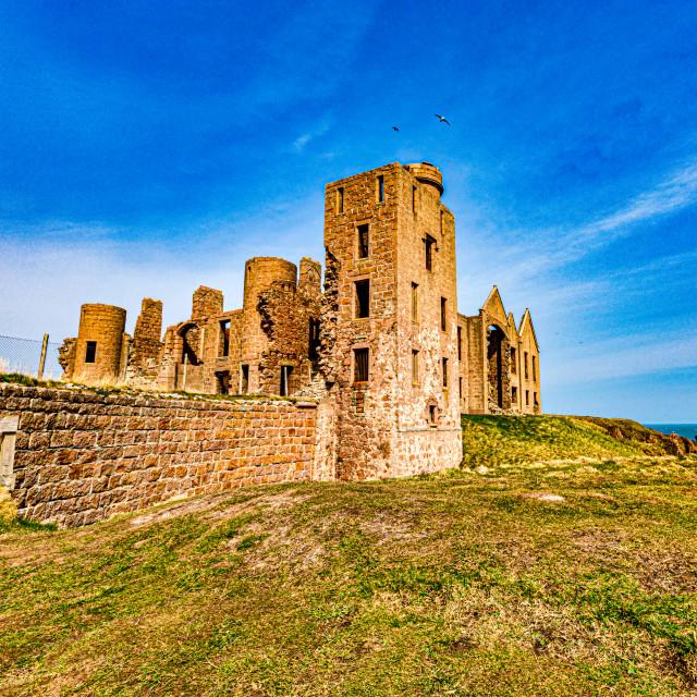 """""""Slains Castle at Cruden Bay"""" stock image"""