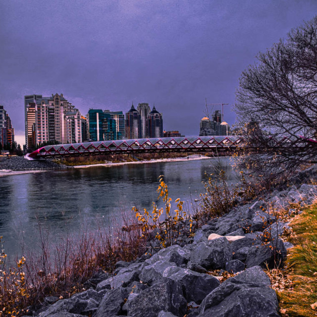 """""""City Scape Night Vibes In Calgary"""" stock image"""