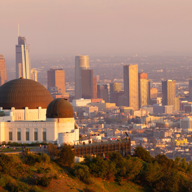 """""""Griffith Observatory with the Los Angeles skyline at sunset"""" stock image"""
