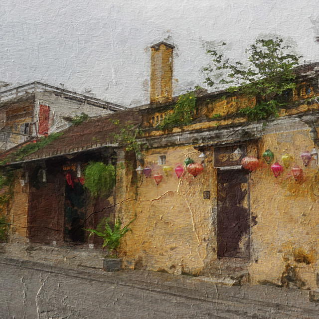 """""""Yellow walls of Hoian, the ancient town."""" stock image"""
