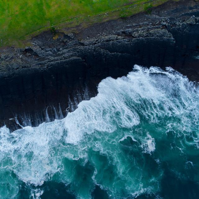 """Wild Atlantic Waves at Kilkee Cliffs"" stock image"