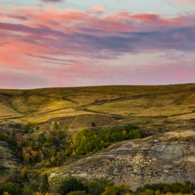 """Sunset In Drumheller Alberta"" stock image"