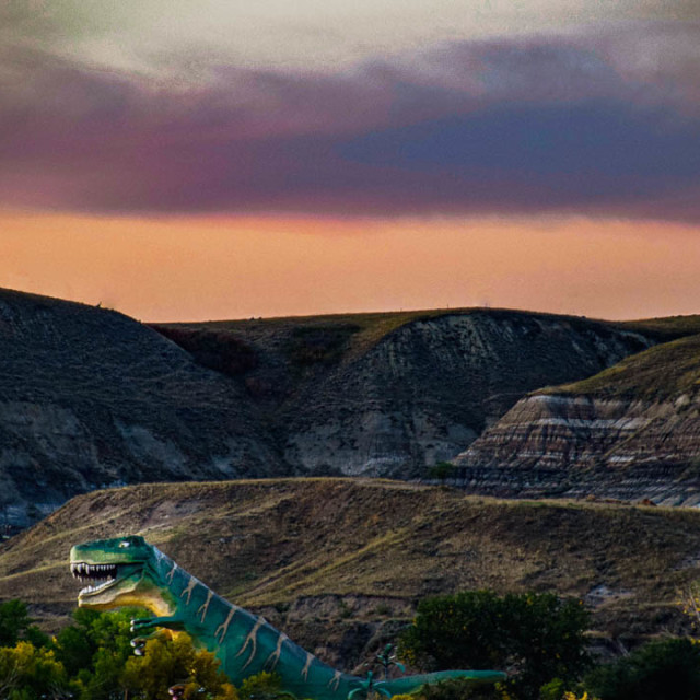 """Sunset In Dinosaur Valley Drumheller"" stock image"