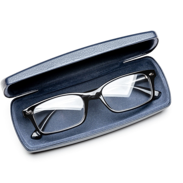 """""""Modern spectacles, or eyeglasses, in a dark blue leather case"""" stock image"""