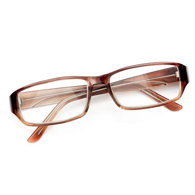 """""""Tortoise Eyeglasses on White Background"""" stock image"""