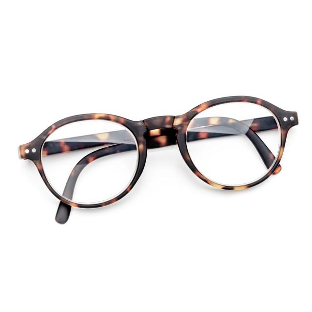 """""""Tortoise Folding Glasses on White Background"""" stock image"""