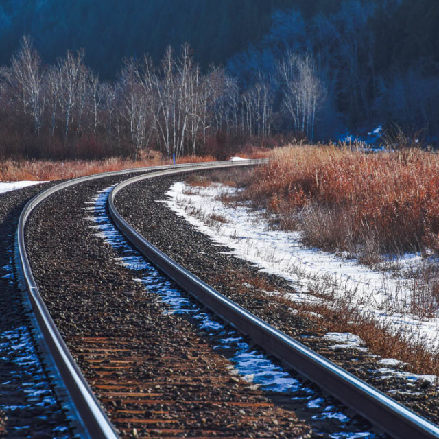 """""""Railway Journey One track At A Time"""" stock image"""