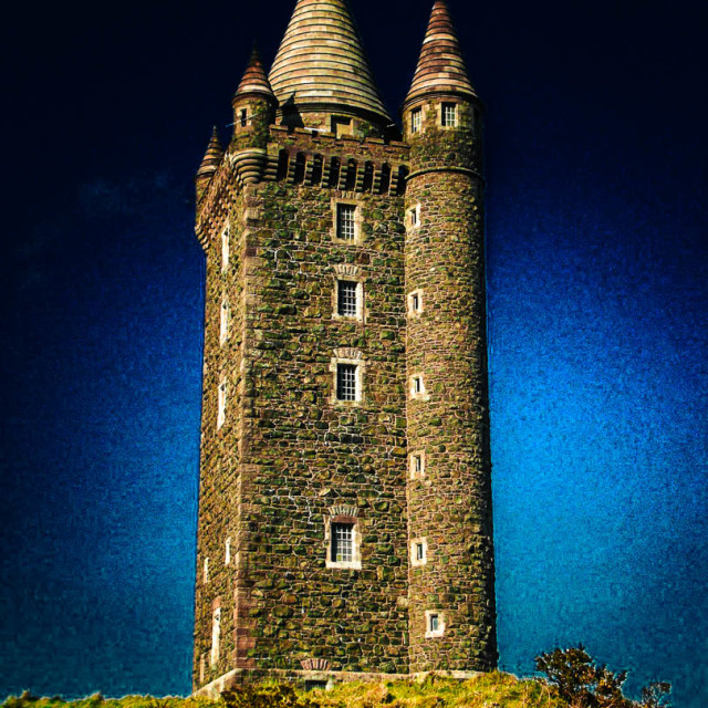 """""""Mystical Scrabo Tower In Darkness"""" stock image"""