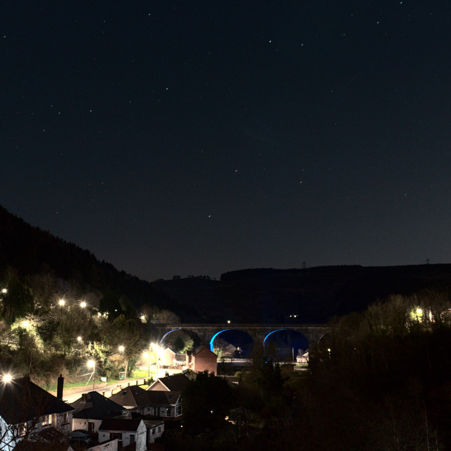 """Pontrhydyfen by night"" stock image"